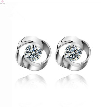 Mulheres Declaração Rose Flower Design Casamento Stud 925 Sterling Silver Earrings