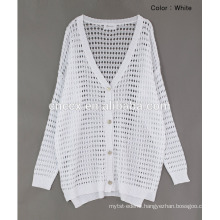 woman thin button closure open stitch cardigan