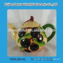 Ceramic tea pot with olive shape