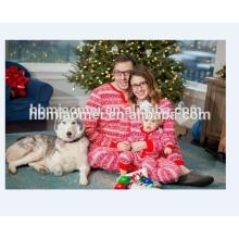 2017 venda quente conjunto de roupas da família 100% algodão correspondência família natal pijamas em tamanho adulto