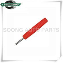Herramienta plástica del núcleo de la válvula del neumático de la manija roja, llave de la base de la válvula, herramienta de extracción de la base de la válvula