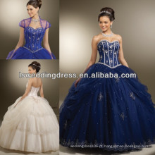HQ2011 Deep blue sweetheart frisado desossado desgastante organza jaqueta quinceanera vestidos últimos vestidos de moda