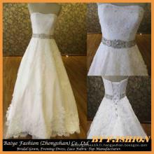 Long-train A-ligne robe de mariée sweetheart robe de mariée perlant robe de dentelle BYB-14614