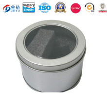 Small Round Tin Box with Window for Watch, Candle Package