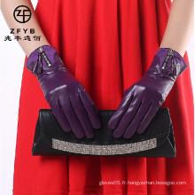 Gants en cuir éthiopien à la mode pour dames avec fermeture à glissière