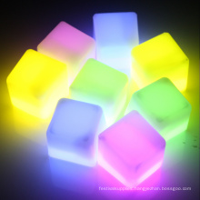 led glowing square ice cube