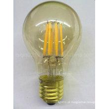 Lâmpada dourada do filamento do diodo emissor de luz da baixa 120V da base E26 da tampa E26 do ouro de 5.5W A60