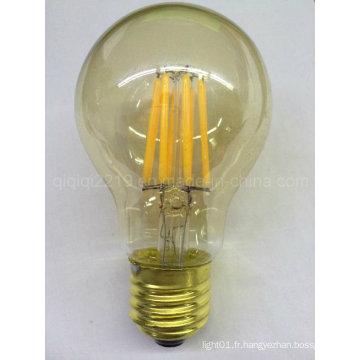 Lampe de filament de la base LED d'or de la couverture E26 d'or de 5.5W A60 120V Dim