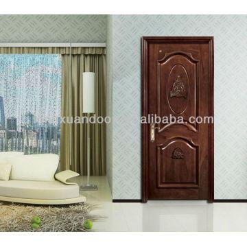 Puerta de madera de entrada clásica, puerta de madera exterior, diseño de puerta