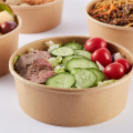 Disposable paper salad bowl with plastic lid for take away