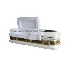 Weißen Sarg mit goldenen Pinsel