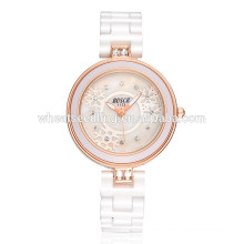 Schlanke Kristall Handgelenk spezielle Damen bling weiße Farbe Uhren