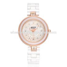 Slim cristal senhoras especiais de pulso bling relógios de cor branca