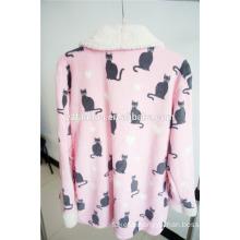 cute pattern printed soft fleece sleep wear night gown