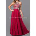 Red Chiffon Long Dress with Sequin Top