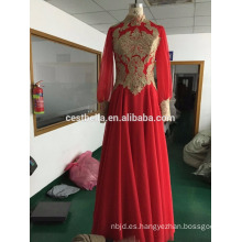 Vestido de novia de hijab musulmán vestido de novia de manga larga rojo árabe