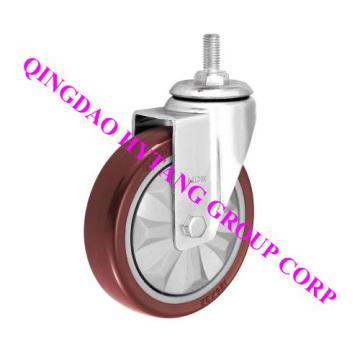 echador de la PU de 75 mm tipo roscado de la rueda