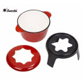 Cast iron enameled chinese fondue pot with wooden tray