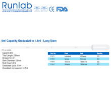 6ml Capacity Long Stem Pipette with Guaduation to 1.5ml