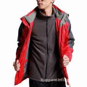 Mens' two-piece fleece inner waterproof breathable jacket coat