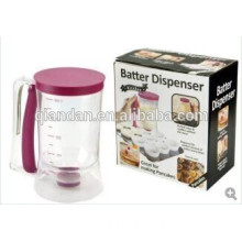 plastic pancake batter dispenser with measuring label