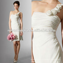 Draped skirt one-shoulder neckline cocktail wedding dress