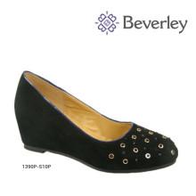 плюс Размер замша кожа Клин женщины очень широкие Ширина обувь