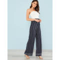 Navy Strapless Pinstriped Wide Leg Jumpsuit OEM/ODM Manufacture Wholesale Fashion Women Apparel (TA7015J)