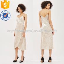 Слоновая кость бархат окунуться обернуть платье OEM и ODM Производство Оптовая продажа женской одежды (TA7120D)