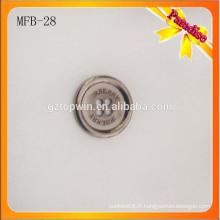 MFB28 Pignon brossé à la forme ronde haut de gamme métal 4 trous à couper le bouton en alliage de zinc pour un pantalon de survêtement
