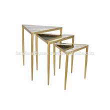 Industrial Metal and Glass Top set of 3 coffee tables