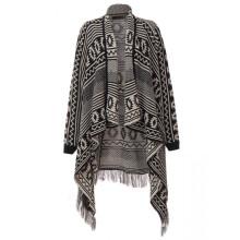 15PKCP02 latest Lady's fashion geometric print woven winteracrylic poncho