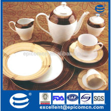 royal gold and brown color decal tableware ceramic tea service set