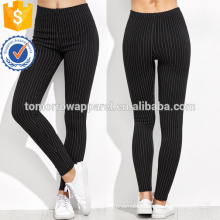 Black High Waist Vertical Striped Leggings OEM/ODM Manufacture Wholesale Fashion Women Apparel (TA7034L)