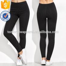Черный высокой талией вертикальная полосатый Леггинсы OEM и ODM Производство Оптовая продажа женской одежды (TA7034L)
