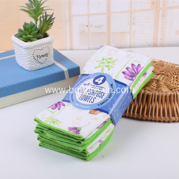 Printed Microfiber House Cleaning Towels Set