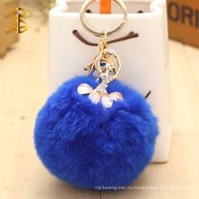 Sweet Cute Fur Keyring с бриллиантами украшение кролик меховой мяч брелок