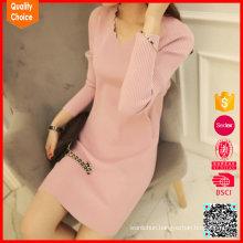 V neck 2016 fashion sweater autumn jumper dress woman