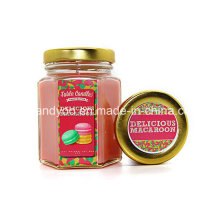 Scetned Soy Candle em jarra de vidro com tampa metálica, vela romântica