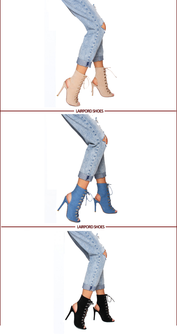 fish mouth jean fabric strappy booties sandals