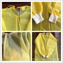 Bata de isolamento amarelo com certificado CE PP + PE laminado