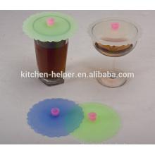 Eco-friendly Atacado FDA Food Grade Reutilizável Anti-poeira Cute Silicone Stretch Cup Lid, Café Chá Caneca Silicone Cup tampa Tampa