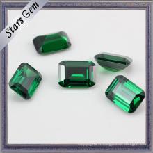 Bonne qualité Rectangle Forme Vert Synthétique Nano Gemstone