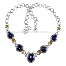 Lapis And Citrine Gemstone 925 Solid Silver Necklace Jewewlry