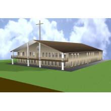 Bâtiment d'église en acier à conception moderne (SS-187)