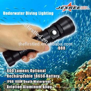 Wasserdichte 800lm 18650 wiederaufladbare Batterie LED Aluminium Taschenlampen
