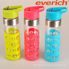 Top-Qualität schweißsichere Sport-Glas-Wasserflasche mit Silikonhülle
