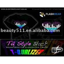 Nova moda estilo iluminação el t shirt E003