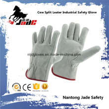 Guante de trabajo para conductor de seguridad industrial de piel de vaca gris