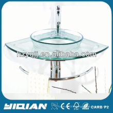 Corner Glass Basin Wall Glass Vanity Ensemble d'évier en verre trempé